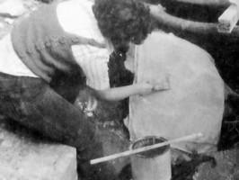 """Подготовка за реставриране на стенописите от черквата """"Св. Илия"""" - 1979г."""